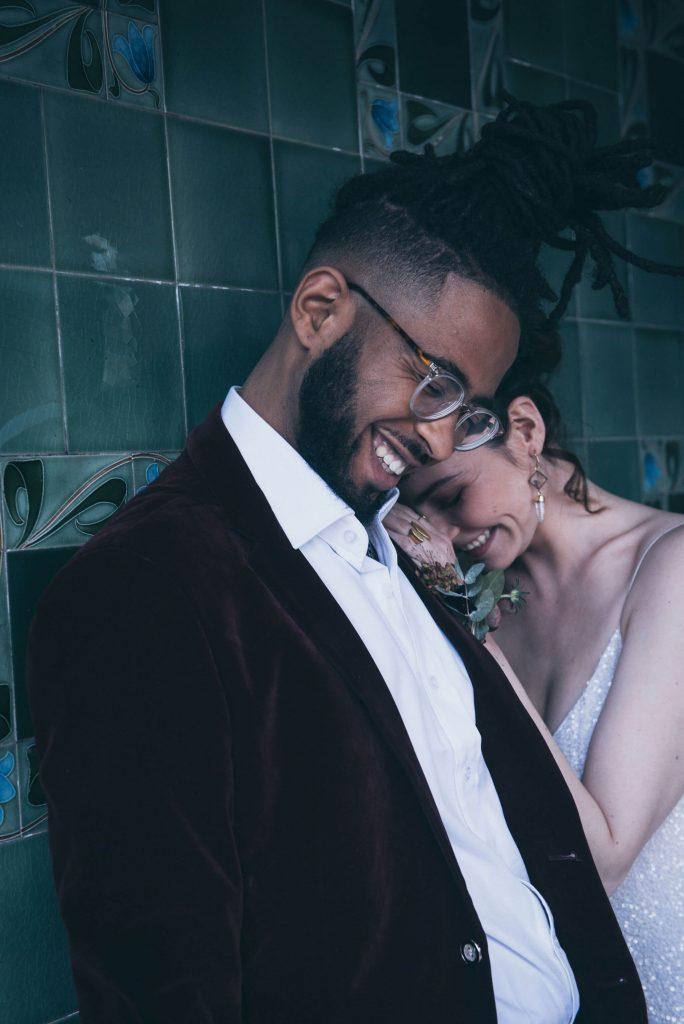 Bride and groom Cat Arwel Photography Stanley Halls London
