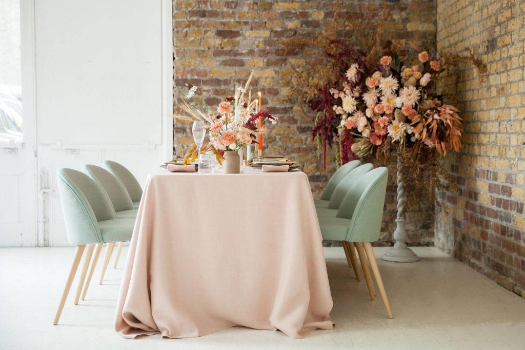Personalised wedding planning modern colour blocking table setup London