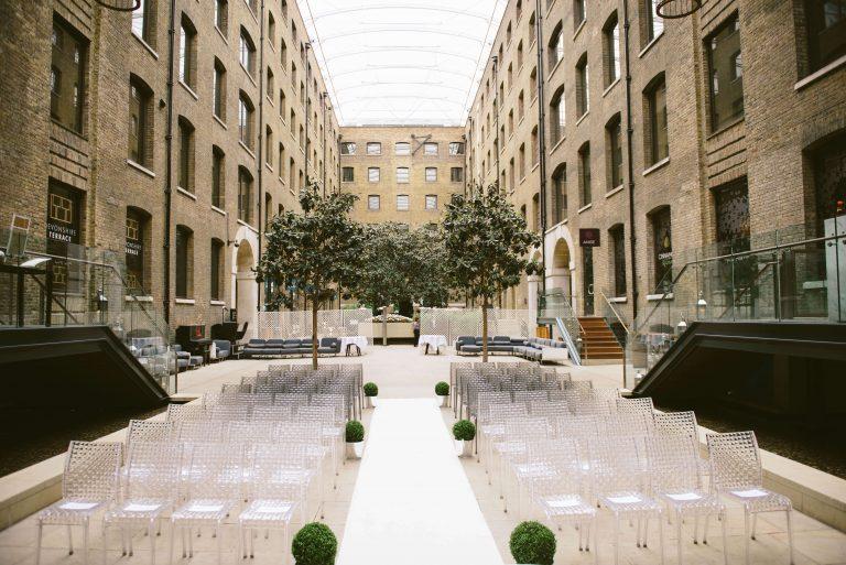 Wedding stylist wedding ceremony setup Devonshire Terrace London
