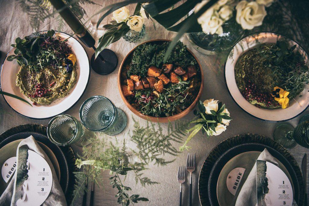 Creative wedding planner modern table setup sharing platters London