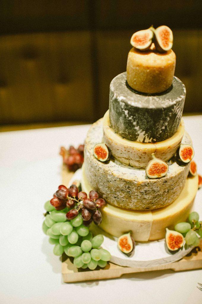Creative wedding planning London cake made of cheese